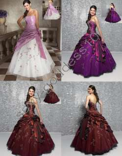 Burgundy Purple Pink Evening Prom Party Dress Gown Size6 8 10 12 14 16