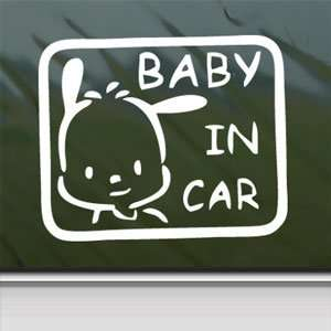BABY POCHACCO IN CAR ON BOARD White Sticker Laptop Vinyl