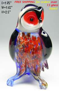 ART OWL BIRD Hand Blown Glass Figurine LARGE SIZE