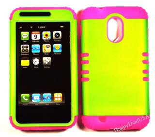 Silicone+Cover Case for Sprint Samsung Galaxy S2 D710 Pink/Lime Green