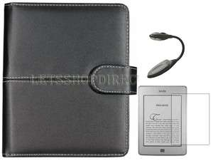 Black Folio Smooth Leather Case Cover for  Kindle Touch+Screen