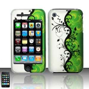 For IPHONE 3GS 3G Hard Rubberized Case Phone Cover GREEN / SILVER