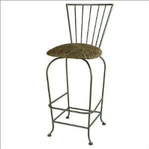 High Wrought Iron Slatted Back Bar Stool with Arms Furniture & Decor