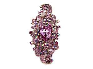 Bridal Flower Violet Swarovski CRYSTAL Pin BROOCH A90