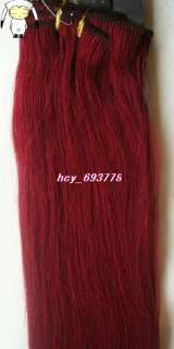 20Remy Human Hair 15Clips 7pcs Attached In Extensions Fantasy Red,70g