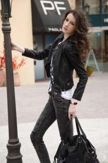 NWT WOMENS STAND COLLAR ZIP PU LEATHER BLACK MOTORCYCLE COAT JACKET