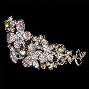 Butterfly Flower Hair Comb Crystal VTG Style Tiara Garden