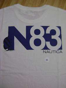 Nautica Men Tee Shirt Medium Solid Wh Short Sleeve 708