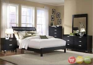 Bella King Platform Bed Black 5 piece Bedroom Set w/ Chest