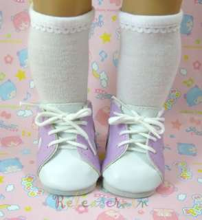 American Girl Doll Shoes White/Lavender Sneakers #S11