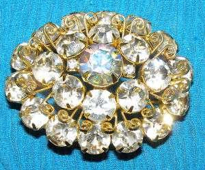 Vintage Aurora Borealis Rhinestone Oval Brooch Pin