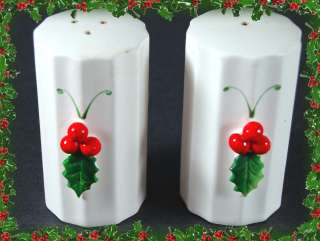 Christmas Vintage HOLT HOWARD Holly Salt Pepper Set 2pc