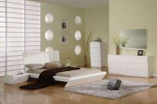 ULTRA MODERN QUEEN SIZE BEDROOM SET IN WHITE FINISH
