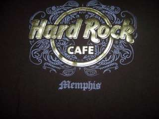 Hard Rock Cafe T shirt MEMPHIS Gold gilded metalic letters ROCK & ROLL