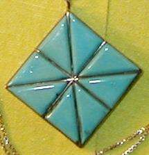 Vintage Zuni W Iule turquoise Sterling Silver Necklace