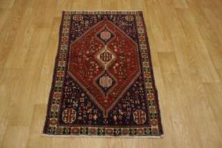 ANTIQUE TRIBAL 3X4 ABADEH SHIRAZ PERSIAN ORIENTAL AREA RUG WOOL CARPET