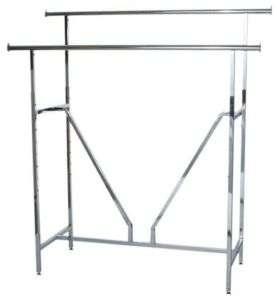 Parallel Double Bar Clothing Rack Heavy Duty Chrome