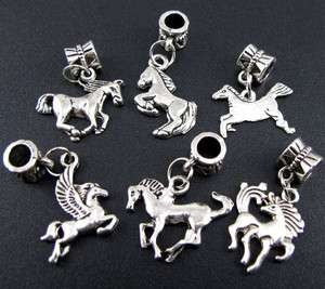 Wholesale 100p Mix Tibetan Silver Horse Dangle Beads Fit Charm