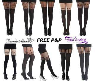 65aa62f8066 New PAMELA MANN Tights Fashion Tights Mock Suspender Tights Celebrity