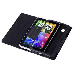 Black Leather Folio Kick Stand Case Cover Pouch for HTC EVO View 4G