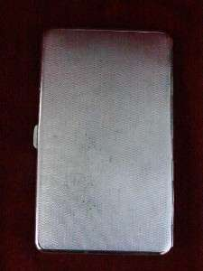 Antique Chrome Plate Cigarette Case Credit Debit Card Holder Art Deco
