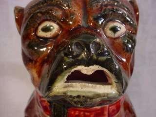 Circa 1880 Antique Majolica Porcelain Pug Dog Pitcher