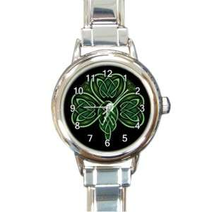 CELTIC IRISH SHAMROCK LUCK Round Italian Charm Watch #2