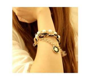 HOT Korean Jewelry Cute Clover Imitation Pearl Multi layer Bracelet