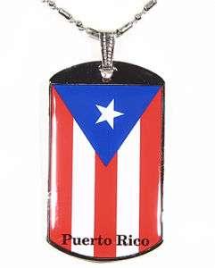 Puerto Rico Flag Polymer Glazed Color Dogtag Dog Tag