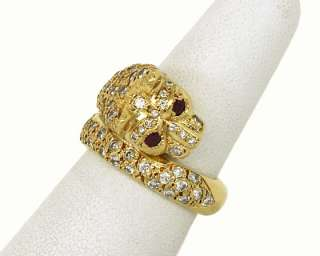 LOVELY 18K GOLD DIAMONDS RUBIES PANTHER HEAD BAND RING