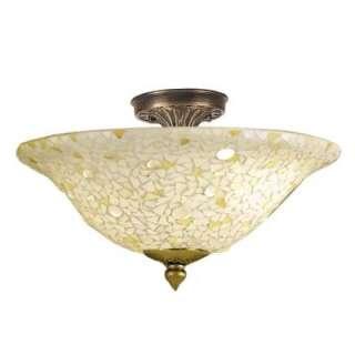 TiffanyMosaic/Clear 3 Light Flush Mount Antique Bronze Ceiling Light