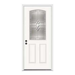 JELD WEN Kingston 36 In. X 80 In. White Prehung Right Hand Inswing 1/2