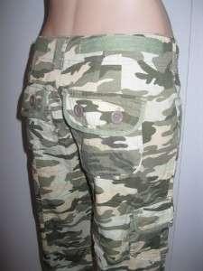 juniors Feline CAPRI camouflage CAMO CARGO PANTS olive NEW M 5 7