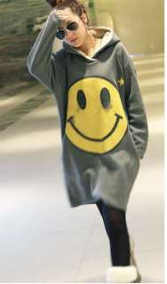 NEW Women Super Fashion People Smile Face Long Hoodie Sweater Coat 911