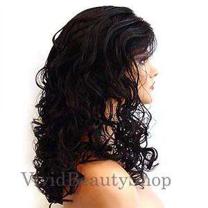 HANDSEWN SYNTHETIC FRENCH LACE FRONT CURLY WIG BROWN