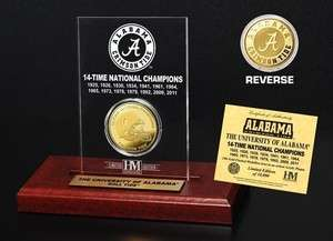 Alabama 14 Time National Champion Commemorative Gold Coin Etched