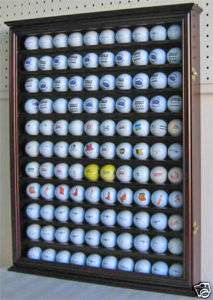 110 Golf Ball Display Case Shadow Box Wall Cabinet, Solid Wood, Cherry