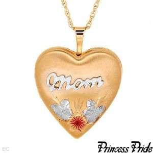 PRINCESS PRIDE MOMS HEART LOCKET NECKLACE 20 INCHES