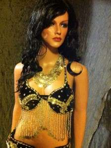 Black velvet bra and belt bedlah set with gold sequins and beaded