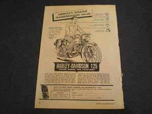 1950 Harley Davidson Motorcycles 125 Motorcycle Ad