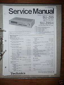 Service Manual Technics SU Z65 Amplifier,ORIGINAL