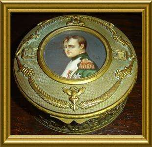 QUALITY ORNATE BRONZE DORE NAPOLEON BONAPARTE SIGNED PORTRAIT BOX