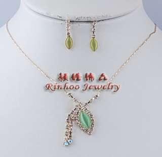 6sets rhinestone&cat eye bead Necklace&Earrings Free~~