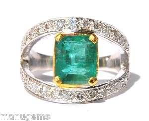 FABULOUS ESTATE 18KT SOLID WHITE GOLD 6 CARAT AAA TOP EMERALD DIAMOND