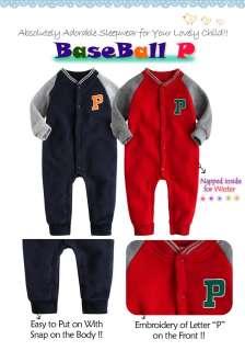 Baby Boy Girls Fleece Jumpsuit Onepiece Outwear  BaseBall P
