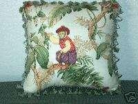 Jungle Dressed Monkey Palm Tree Toile Pillow Cream
