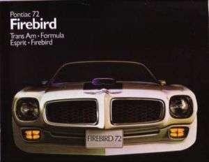 1972 PONTIAC FIREBIRD & TRANS AM Sales Brochure Book