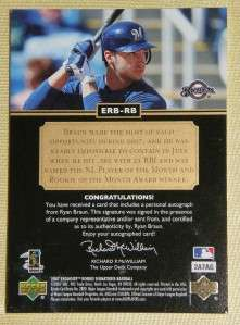 RYAN BRAUN 2007 EXQUISITE ROOKIE BIOGRAPHY AUTO 3/5