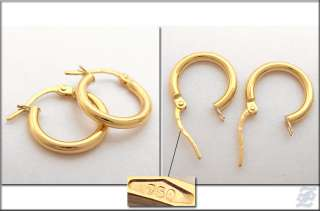 o1688   BRAND NEW 18K SOLID YELLOW GOLD HOOP EARRINGS DIAMETER 14 MM