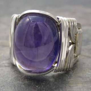 Amethyst Dark Purple Cabochon Sterling Silver Wire Wrapped Ring ANY